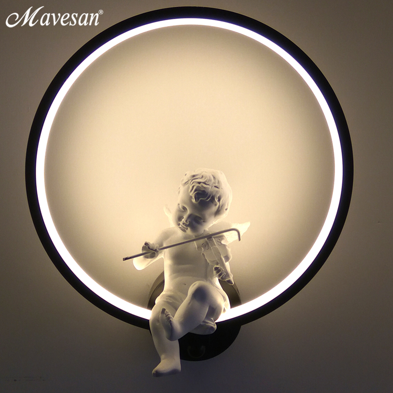 Хит продаж Настенные светильники Крытый Черный Белый стены освещения минималистский art бра интерьер с Ангел украшения дома стены