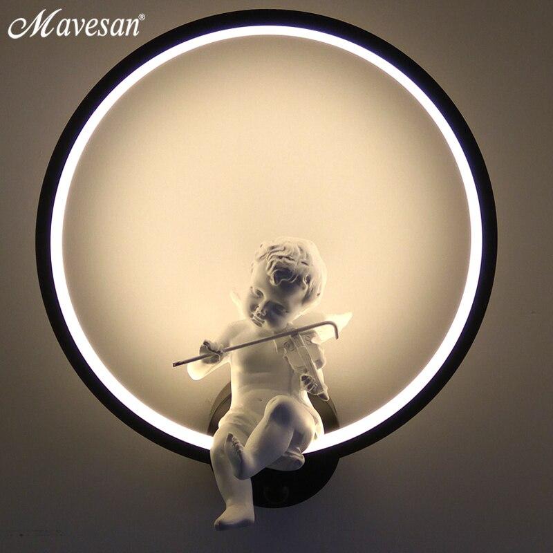 Venda quente lâmpadas de parede interior preto branco iluminação parede minimalista arte arandela interior com anjo decoração para casa