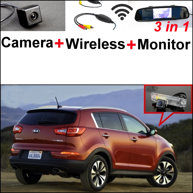 Wireless Receiver + 3 in1 Special Rear View Camera + Mirror Monitor Easy DIY Back Up Parking System For KIA Sportage R 2011~2016 wireless pager system 433 92mhz wireless restaurant table buzzer with monitor and watch receiver 3 display 42 call button