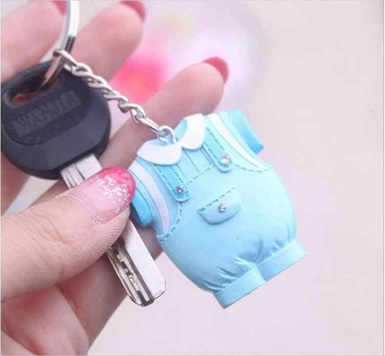 10pcs Baby Shower Favors Blue เสื้อผ้า Design พวงกุญแจ Baby Baptism ของขวัญเกสต์วันเกิดของที่ระลึกของที่ระลึก