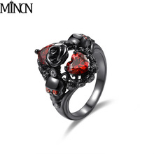 MINCN New fashion gun ring inlaid with heart-shaped red zirconium skull head female personality for women