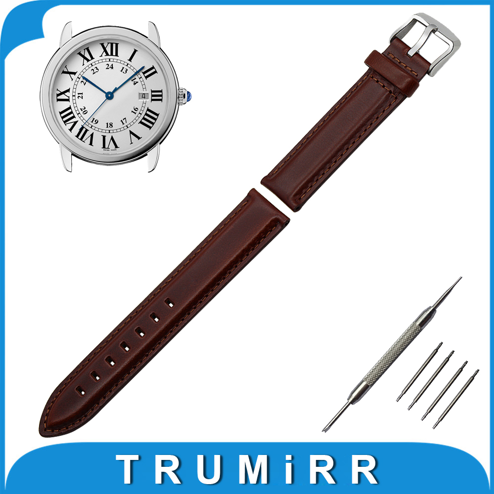 18mm 20mm First Layer Genuine Leather Watch Band for Cartier Stainless Steel Buckle Strap Wrist Belt Bracelet Black Brown 18mm first layer genuine leather watch band for huawei watch fit honor s1 stainless steel buckle strap wrist belt bracelet