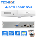Techege NEW MINI NVR 4CH /8CH Full HD NVR 1920*1080P P2P ONVIF 2.0 For IP Camera HDMI Network Video Recorder