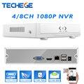 Techege NOVO MINI NVR 4CH/8CH NVR Full HD 1920*1080 P P2P ONVIF 2.0 Para A Câmera IP HDMI Gravador de Vídeo em Rede