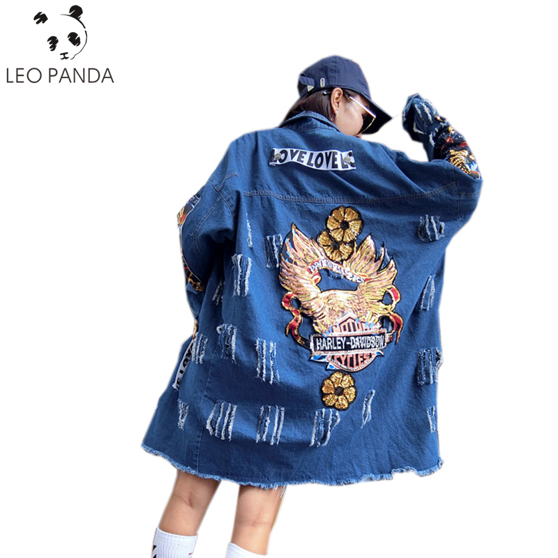 2019 New Women Harajuku style Long Denim Windbreakers Open Stitch   Trench   Coat Ripped Hole Female Overcoat Sequins Clothing HF361