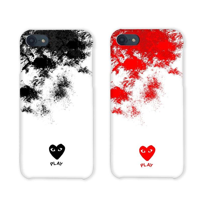 High quality Comme Des Garcons case for iphone 6 S 6S plus 7 7Plus 8 8plus CDG play cover case Matte hard plastic coque fundas