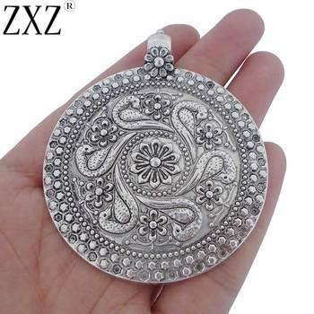 89477e5cee01 1  2  3  4  5. 728 Orders. ZXZ moda gran plata antigua declaración  abstracta Metal cuerno media luna colgante en ...