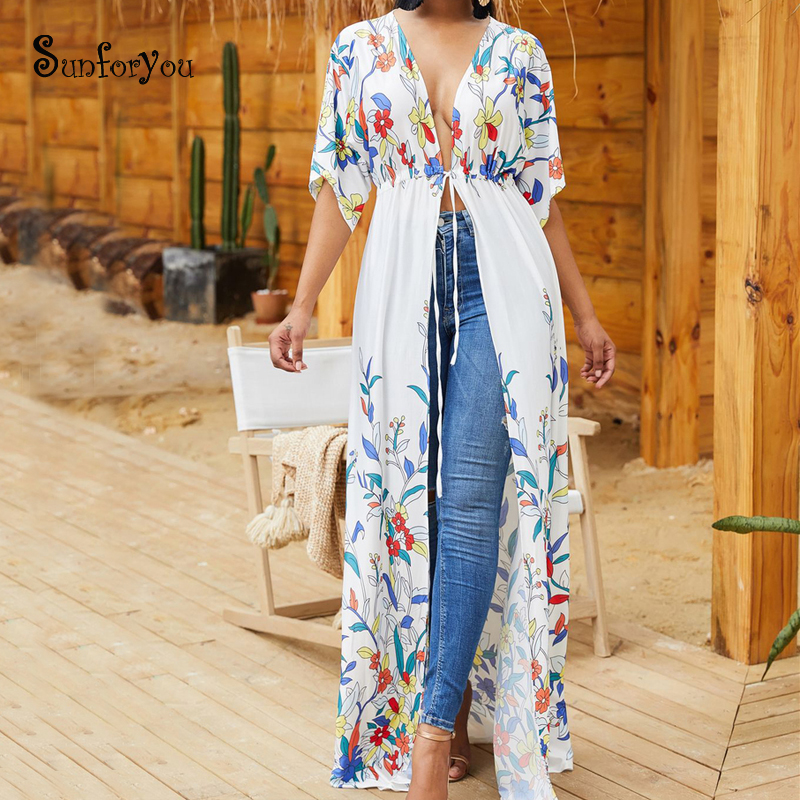 Cotton Beach Cover Up 2019 Robe Plage Plus Size Long Beach Tunic Swimsuit Cover Up Kimono Beach Bathing Suit Cover Ups Swimwear
