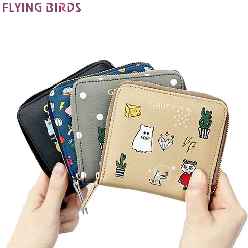 FLYING BIRDS women wallets brands short style purse dollar price printing designer purses card holder coin bag female LM4158fb dc movie hero bat man anime men wallets dollar price short feminino coin purse money photo balsos card holder for boy girl gift