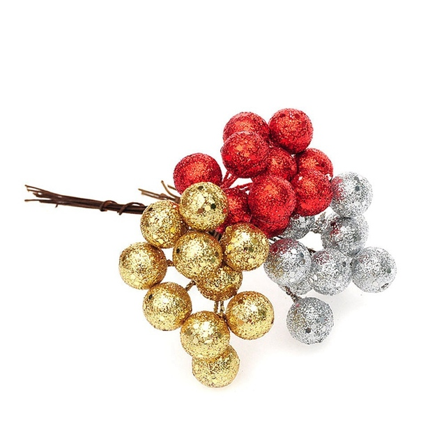 9940f76f5143 10Pcs/lot Christmas Tree Hanging Baubles Fruit Ball Event Party Ornament Red  Sliver Gold christmas decorations for home new year