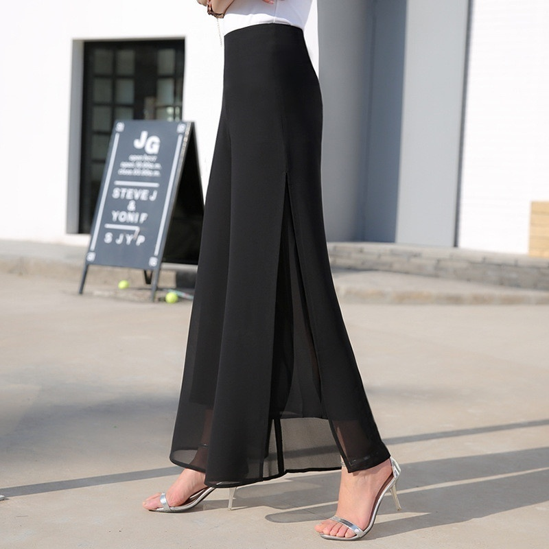 ZOGAA Women's Summer   Wide     Leg   Long Trousers Casual Vintage High Waist Chiffon Side Split Loose Light Comfort   Wide     Leg     Pants