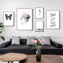 Black And White Wall Art Nordic Woman Abstract Poster Love Painting Feather Canvas For Living Room Unframed