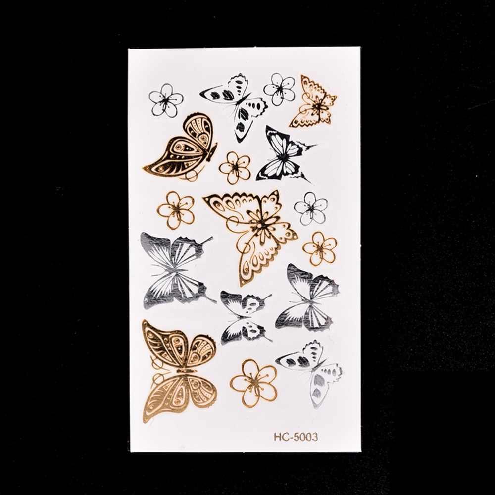 2017 новейший 11*6 см водонепроницаемый тату домашний декор Настенная Наклейка Золотая Бабочка 3d временная татуировка боди-арт вспышка тату стикер s