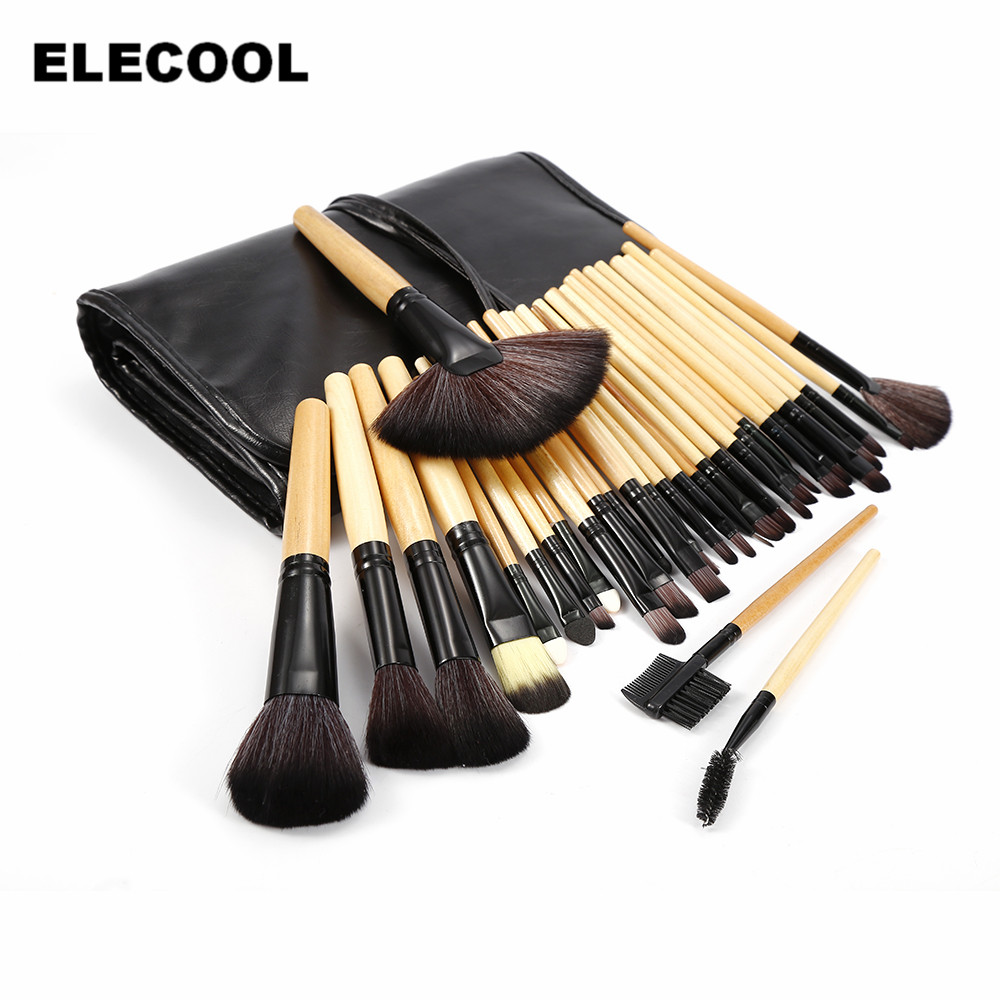 ELECOOL Professional 32pcs Makeup Brushes Set Foundation Cosmetic Powder Multifunction Toiletry Brushes Makeup Brushing Kits Bag