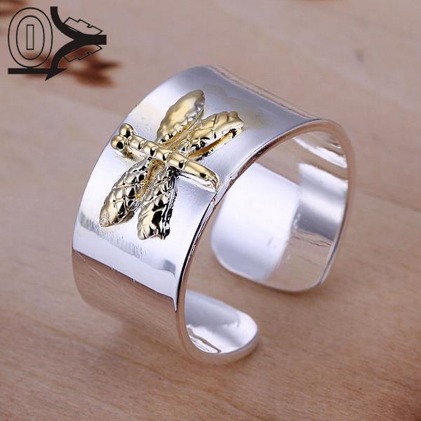 Ücretsiz Kargo 925 Gümüş Yüzük Güzel Moda Renk Ayrımı Dragonfly Takı Yüzük Kadın ve Erkek Parmak Yüzük SMTR011