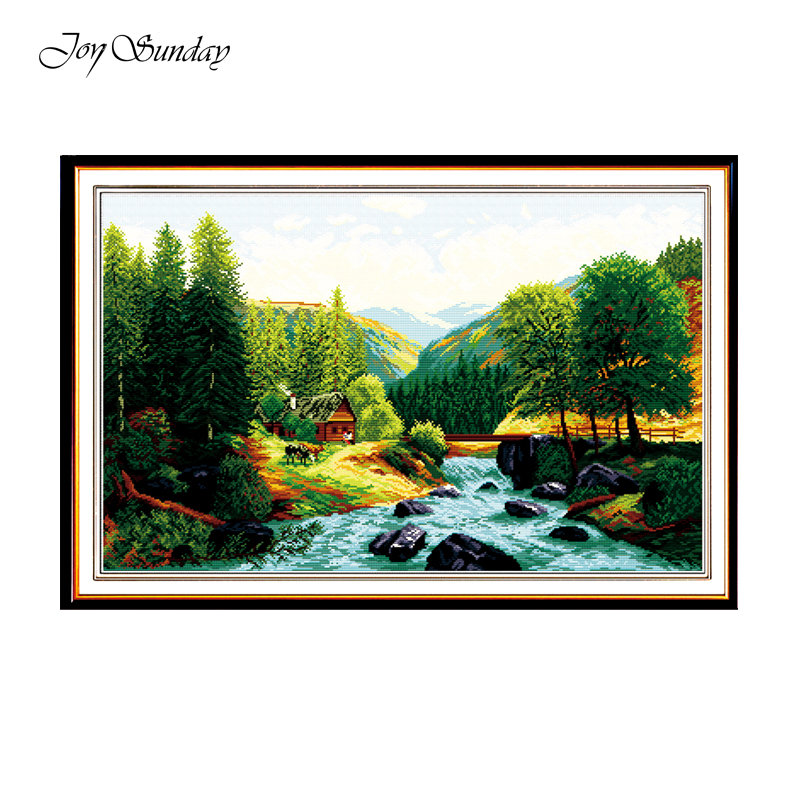 Joy Sunday Cross Stitch DIY Landscape Painting Printed Cross Stitch Kits 11ct 14ct Cross Stitch Kits Embroidery Needlework Sets in Package from Home Garden