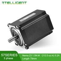 Rtelligent 3Phase Nema 23 Stepper Motor 6 lead Nema23 57Motor 1.2 Degree 0.9/1.5N.M 56/79mm Nema Stepper Motor for CNC Machine