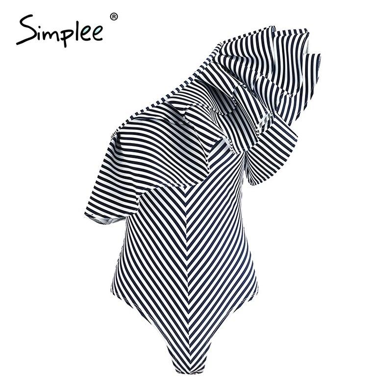 Simplee Sexy one shoulder ruffle stripe jumpsuit romper Women elegant bodycon slim bodysuit Summer beach sleeveless