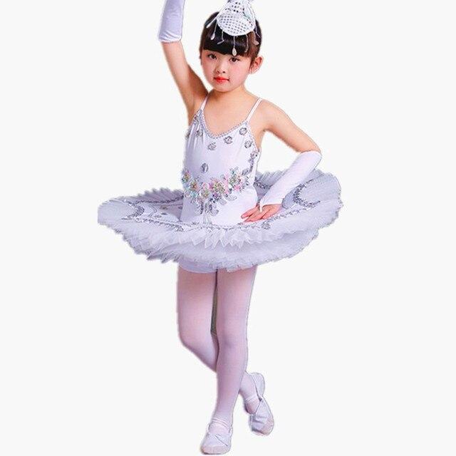 Profesyonel bale Tutu gözleme çocuk beyaz kuğu gölü bale kostümü KidsGirls tüy Ballerine Tutu etekler