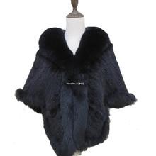 最新の女性の本物のリアルミンクの毛皮のケープキツネの毛皮の女性の襟の女性のニット/ショール/コート/黒