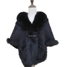 Mais novas Mulheres Genuíno Real Mink Capa de pele gola de pele de Raposa Fêmea de malha Das Senhoras/xale/casaco/preto