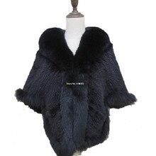Nueva capa de piel de visón Real para mujer cuello de piel de zorro tejido/chal/abrigo/negro
