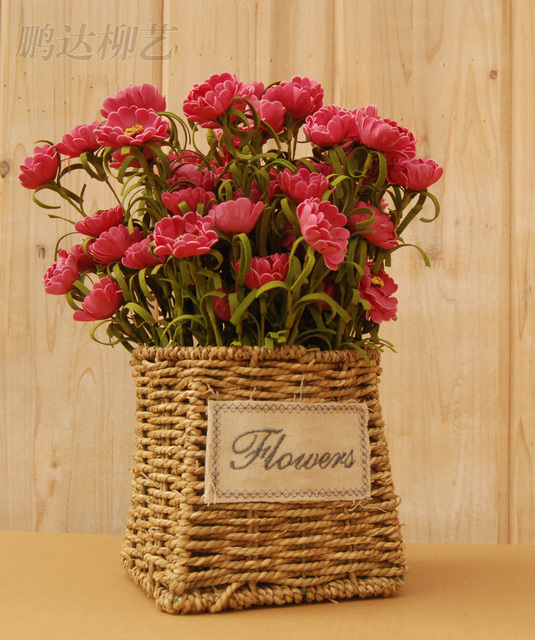 Straw Flower Vase Artificial Silk Basket Planter Pot Home Office Decoration Wedding