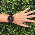 2017 festival memorial day regalo enmex reloj obra de arte hecha a mano de bambú natural de madera de color oscuro relojes de cuarzo