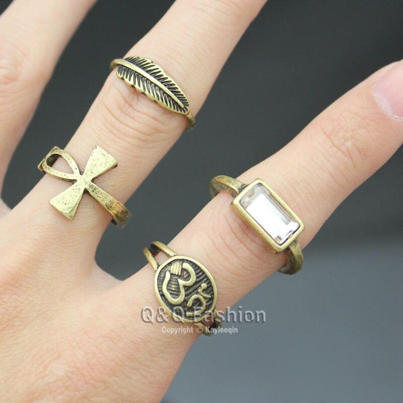 Vitnage Gold Silber Ägyptische Ankh Kreuz Schlüssel Leben Hindu Indische Om Ohm Aum Feder Blatt Ringe Set für Frauen Männer Indischen Schmuck