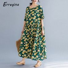 цены Erregina Women Dress Summer Casual Loose Short Sleeve Vintage Sunflower Print Cotton Linen Maxi Long Dress Vestidos Plus Size
