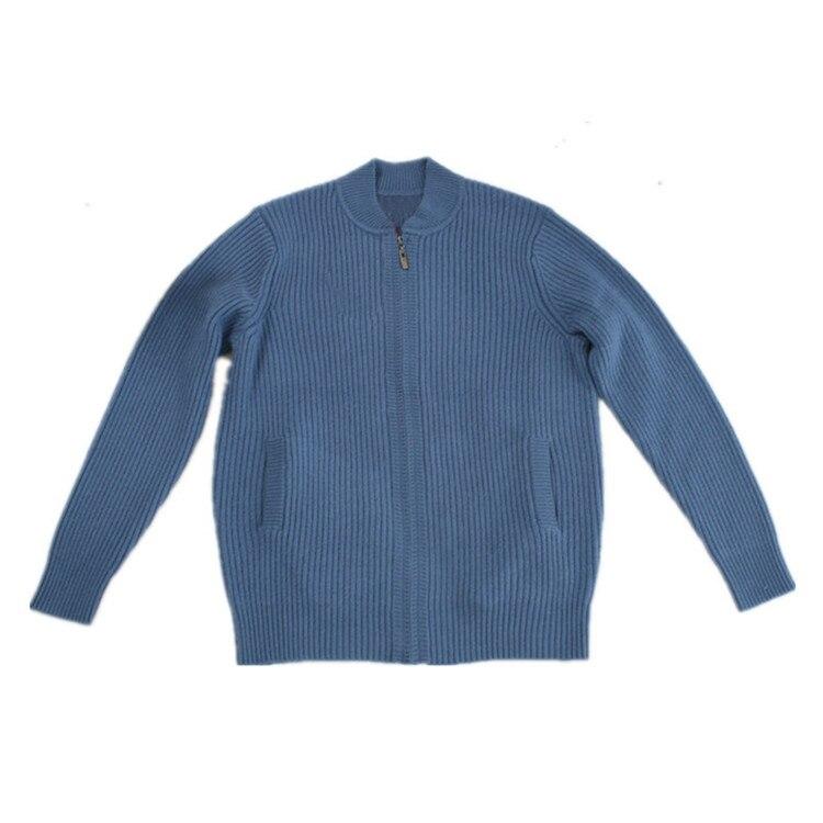 100% кашемир, плотный вязаный мужской модный кардиган на молнии в Вертикальную Полоску, свитер с воротником стойкой, серый, синий, 3 вида цвето