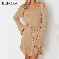 BEFORW Knitting Sweater Short Dress Women Elegant Sexy Off Shoulder Dresses Long Sleeve Black Spring Summer