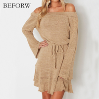 BEFORW Knitting Sweater Short Dress Women Elegant Sexy Off Shoulder Dresses Long Sleeve Black Spring Summer