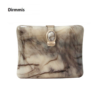 2018 New Brand Fashion Wallet Women Messenger Bag Cute Acrylic Party Evening Bag Woman Vintage Print Diamond Pearl Casual Clutch