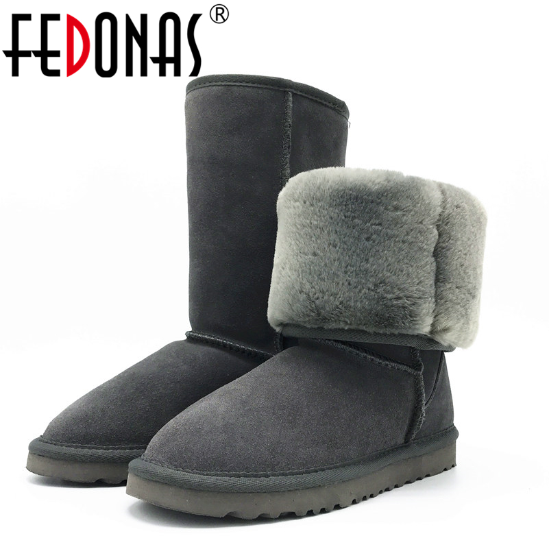 FEDONAS Top Quality Boots Women Fashion Classic Cow Suede High Snow Boots Warm Winter Flats Boots
