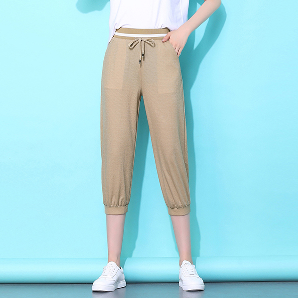 Women summer thin Lantern   pants   elastic waist chiffon cropped   pants     capris   elegant lady loose harem   pants   high waist mom   pants