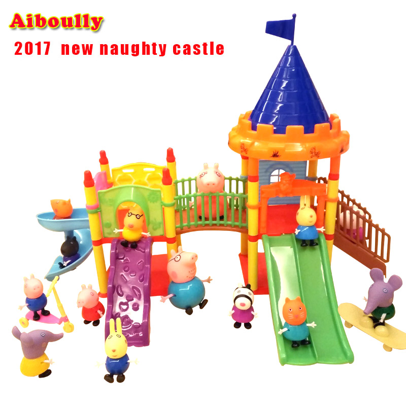 Aiboully pig toys Series of Amusement park Toys PVC Action Figures Family Member peppa george pig Toy Baby Kid Birthday Gift george crowder theories of multiculturalism