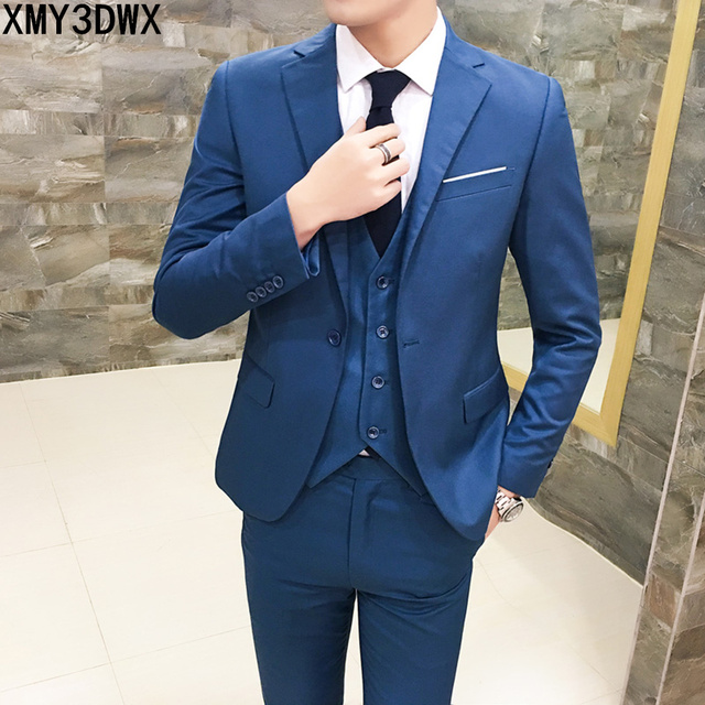 ( jacket + vest + pants ) 2018 Spring Men's Slim Fit Business Three-piece Suits Male groom Party dress /Man Wedding Blazers Sets 2