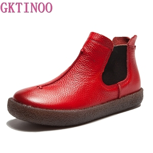 Image 1 - 2020 女性イングランドスタイルブランド新女性の本革フラットブーツの靴秋のアンクルブーツ冬のレトロなブーツ