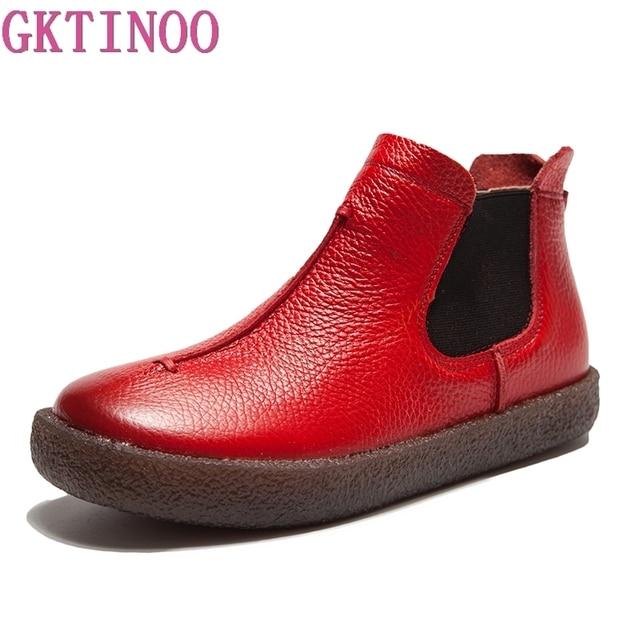 2020 女性イングランドスタイルブランド新女性の本革フラットブーツの靴秋のアンクルブーツ冬のレトロなブーツ