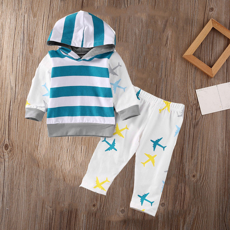 цены  Organic Airplane Newborn Baby Boy Girl Clothes Set Tops T-shirt Pants Long Sleeve Cotton Blue 2Pcs Outfits Baby Boys Set