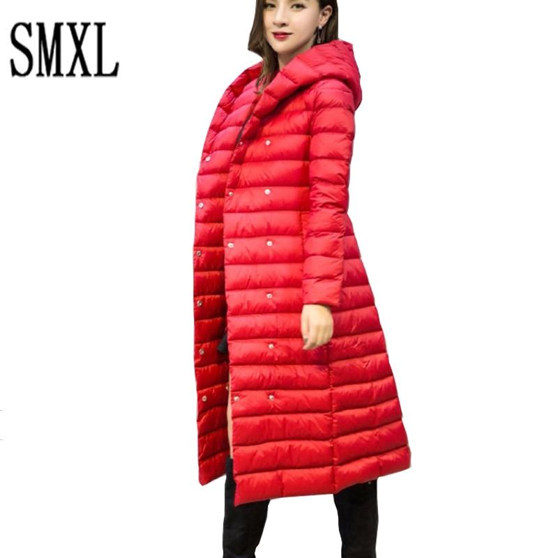 add Winter plus size thick x-long Down Jacket Duck Down Hooded Jackets women Ultra Warm Slim Coats Parka Female Solid Outwear