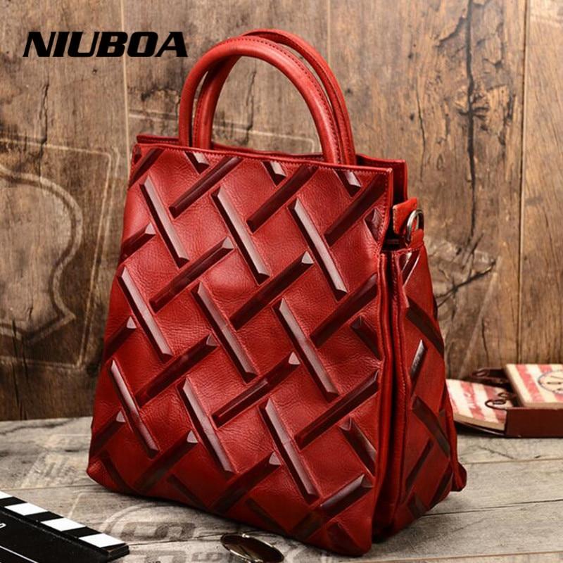 Real Cow Leather Ladies Bags Euro Vintage Women Genuine Leather Handbag Tote Top Quality Designer Luxury Shoulder Crossbody Bags