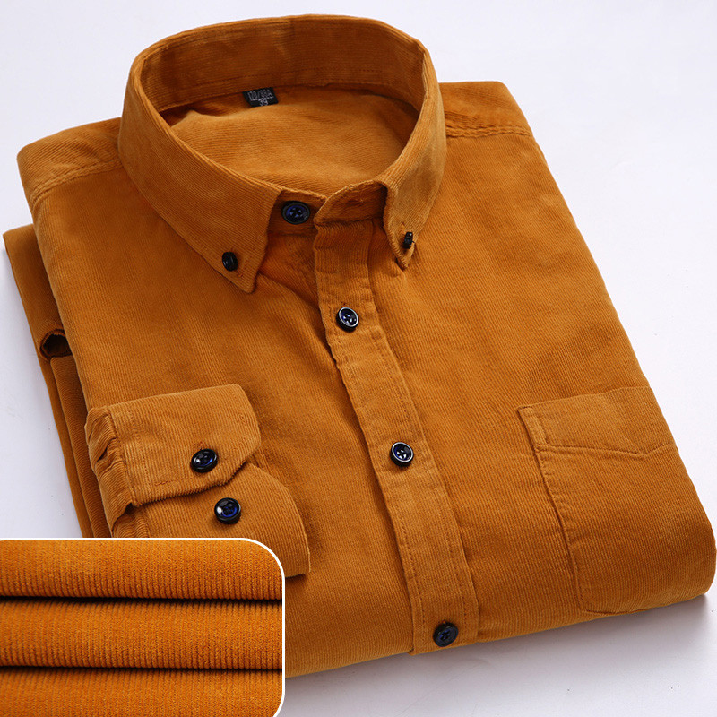 Plus Size 6xl Autumn/winter Warm Quality 100%cotton Corduroy long sleeved button collar smart casual shirts for men comfortable 1