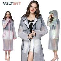 투명 비 코트 여성 긴 비옷 플러스 사이즈 후드 불 침투성 트렌치 코트 오토바이 레인 커버 캠핑 하이킹 판초