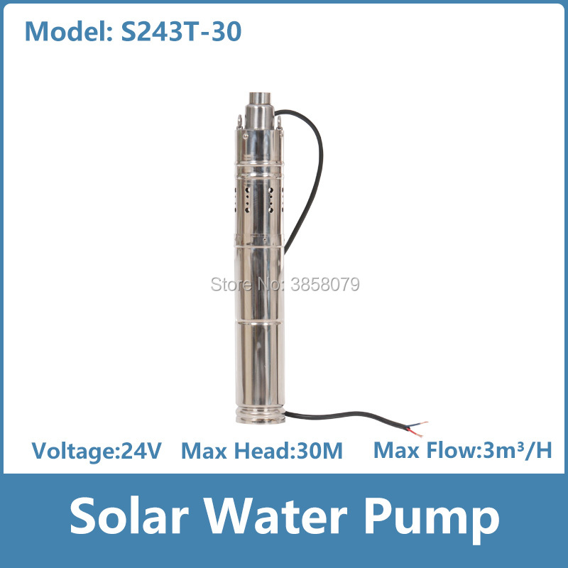 1/4 hp water pump screw 3 inches solar deep well pump submersible water pump solar 24v dc bomba solar pompa solare S243T-30 free shipping ss316 dc submersible solar pump solar water pump 1 cbm hr 30m model 3sps1 0 30