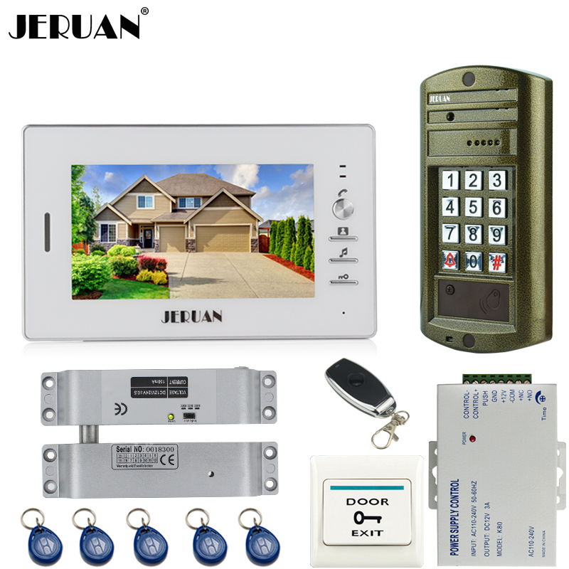 JERUAN NEW Metal waterproof Access password keypad HD Mini Camera +7 inch LCD video door phone intercom system kit with E-Lock jeruan 8 inch tft video door phone record intercom system new rfid waterproof touch key password keypad camera 8g sd card e lock