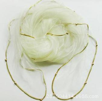 Женский летний Одноцветный полосатый шарф из органзы, украшенный бисером, женский весенний золотой ободок, длинный бисер, тонкая мягкая шаль - Цвет: 4