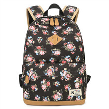 цена на Fresh Style Women Backpacks Floral Printing Bookbags Canvas Backpack School Bag For Girls Rucksack Female Travel Backpack