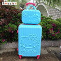 "20 ""&24""inch Hello Kitty Luggage suit sets,KT candy color Suitcase,ABS material  traveling box ,Trolley Travel bag+Cosmetic Case"